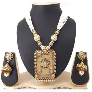 9blings Designer Colletion Pearl Gold Plated Copper Necklace Set
