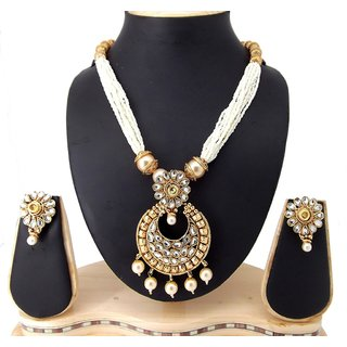 9blings Ethnic Wear Pearl Kundan Gold Plated Copper Necklace Set