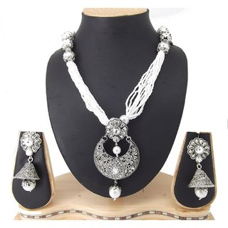 9blings Party Wear Filigree Work Silver Oxidized Pearl Kundan Silver Plated Necklace Set
