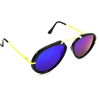 HRINKAR Men's Multicolour Mirrored Aviator Sunglasses