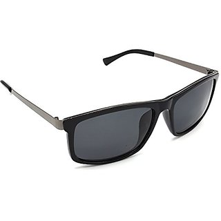 HRINKAR Men's Grey Mirrored Rectangular Sunglasses