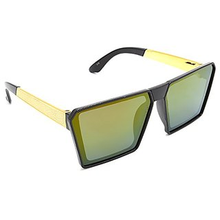 HRINKAR Men's Multicolour Mirrored Rectangular Sunglasses