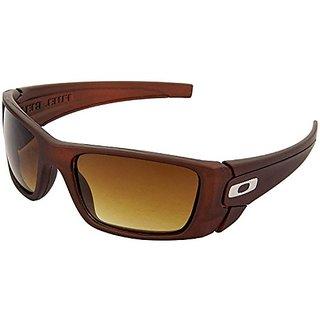 HRINKAR Men's Brown Mirrored Sports Sunglasses