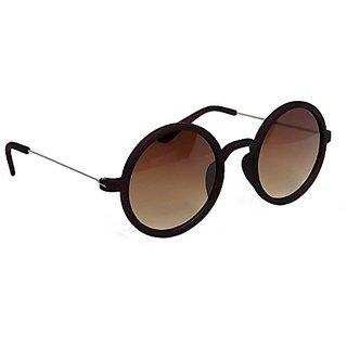 HRINKAR Men's Brown Mirrored Round Sunglasses