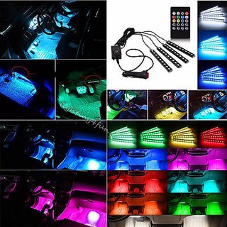 Multi-Color Music Controlled(Sound Activated) 9 LED Car Interior Atmosphere light with IR Remote Control