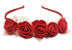GaDinStylo Women /Girls Red Rose Hair Band/Tiara Designed