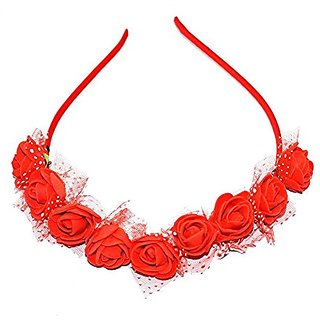 GaDinStylo Women /Girls Red Rose Hair Band/Tiara Designed