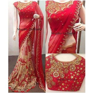 Meia Red Embroidered Georgette Saree For Women With Blouse