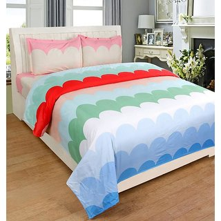 The Intellect Bazaar 100 % Polyester 3D Printed Double Bedsheet with 2 Pillow Covers