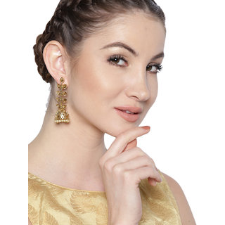 Zaveri Pearls Gold Tone Leaves Twig Jhumki Earring-ZPFK7335
