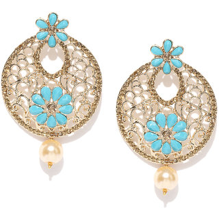 Zaveri Pearls Gold Tone Austrian Diamonds Studded Dangle  Pearl Drop Earring-ZPFK7340