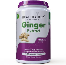 HealthyHey Ginger Extract 4 Gingerols - 100 Veg Capsules
