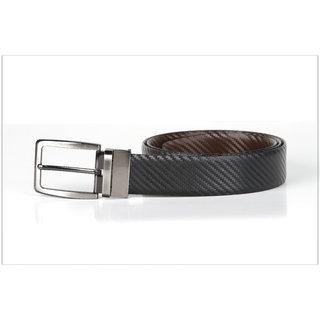 Kara Men Black Brown Reversible Leather Belt-44-Black