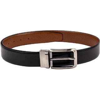 Kara Men Black Solid Leather Belt-38-Black