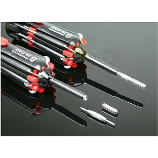 Lucky Traders Screwdriver 8 in 1 Magnetic Head Tool with 6 LED Torch 8 IN1 tool KIT