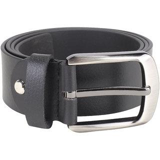 Kara Men Black Solid Genuine Leather Belt-X-Large-Black