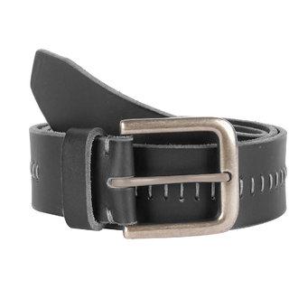 Kara Men Black Genuine Leather Belt with Stitch Detail-Large-Black
