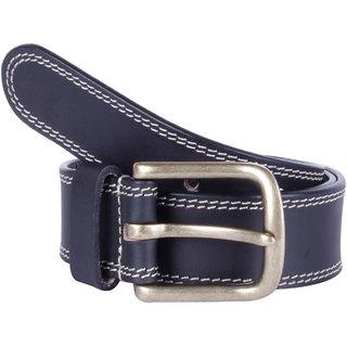 Kara Men Black Solid Leather Belt-Medium-Black