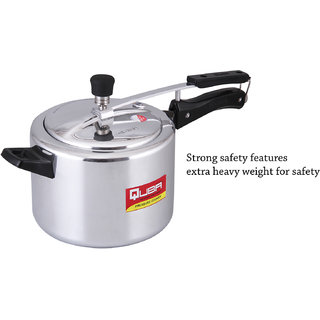 Quba Aluminium Regular 3 Litre Pressure Cooker with Induction Bottom(Aluminium)