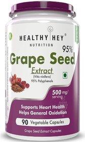 HealthyHey Grape Seed Extract  Maximum Strength  500 mg  90 Veggie Caps