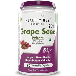 HealthyHey Grape Seed Extract  Maximum Strength  500 mg  90 Veggie Caps