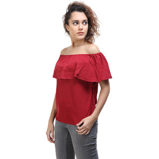2a4b77872c1774 Buy Off Shoulder Top Red Plain Round Neck Off Shoulder Top For Women ...