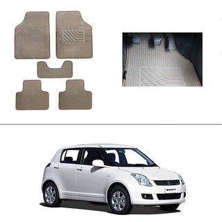 KunjZone Best Quality Set of 5 Carpet Beige Car Foot Mat / Car Floor Mat for Maruti Suzuki Swift