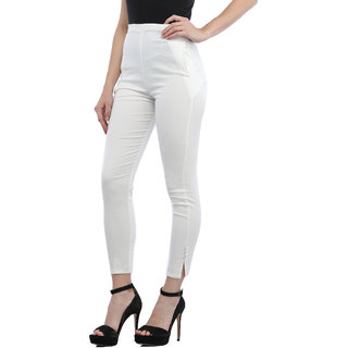 Trendy Trotters Womens White Color Slim Fit Stretchable Cotton Jegging