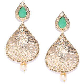 Zaveri Pearls Gold Tone Traditional Dangle  Pearl Drop Earring-ZPFK7336