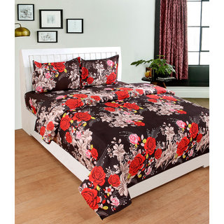 BSB Trendz 3D Brown Bedsheet On Red Rose Printed Double Bedsheet With 2 Pillow Covers Size-90X90 Inches Pillow-17X27 Inches