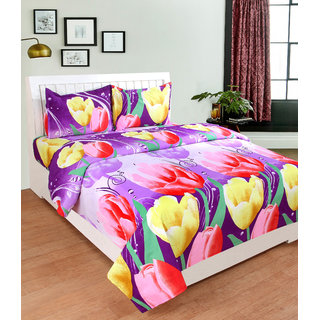 BSB Trendz 3D Light Purple Bedsheet On Red and Yellow Flower  Printed Double Bedsheet With 2 Pillow Covers Size-90X90 Inches Pillow-17X27 Inches