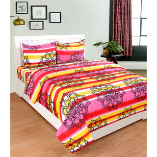 BSB Trendz 3D light Pink Light Yellow and Red Stripe  Bedsheet On Spider Net Printed Double Bedsheet With 2 Pillow Covers Size-90X90 Inches Pillow-17X27 Inches