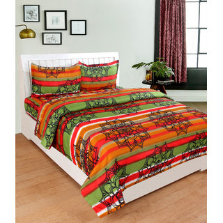BSB Trendz 3D Green Otange and Red Stripe  Bedsheet On Spider Net Printed Double Bedsheet With 2 Pillow Covers Size-90X90 Inches Pillow-17X27 Inches