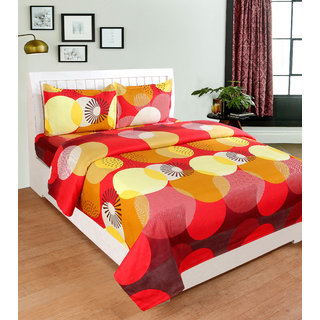 BSB Trendz 3D Red Yellow and Maroon Large Cricle Printed Double Bedsheet With 2 Pillow Covers Size-90X90 Inches Pillow-17X27 Inches