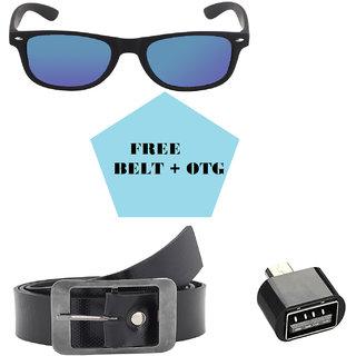 David Martin Blue Mercury/Mirrored (UV 400 Protection) Stylish Unisex Wayfarer Sunglass-Rubber Finish Free Belt + OTG