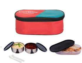 Carrolite Easy Carry Black 2 Containers+ 1 Chapati Tray lunchbox Red
