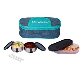 Carrolite Easy Carry Mattee 2 Black Container + 1 Chapati Tray Lunchbox BG