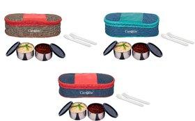 Carrolite Set of 3 Multicolour Mattee 2 Black container Lunchbox
