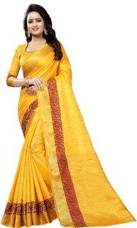 kumbhani fashion Self Design Kanjivaram Cotton Silk Saree (Yellow)