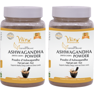 Certified Organic Ashwagandha Powder 100 gm Set of 2