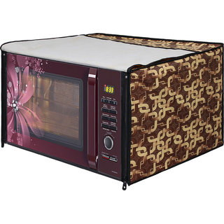 Glassiano Gold Printed Microwave Oven Cover for Samsung 28 Litre Convection Microwave Oven MC28H5025VB/TL , Black