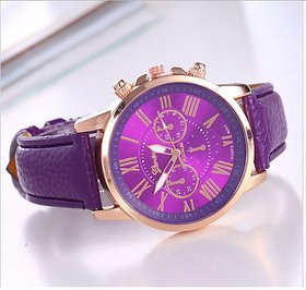 FASHION-GENEVA-WOMEN-LEATHER-BAND-QUARTZ-ANALOG-WRIST-WATCH- PURPLE