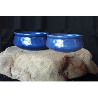Flora Bonsai- Ceramic Flower Pots-Blue- Set Of 2