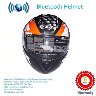 Bluetooth Helmet with call and music function, dual visor, ISI mark and DoT certified