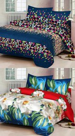 Modern Home 2 Double Bedsheet With 4 Pillow Cover