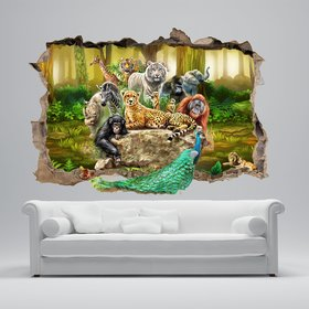 wall dreams Jungle animals in broken wall Animals  Sticker
