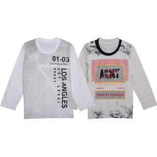 Neuvin Boys Full Sleeve Printed Tshirts Pack of 2