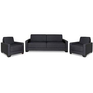 Westido Sofa Set in Black PU upholstery- (3+1+1)