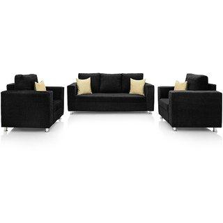 Gioteak Sofa Set in Black Fabric 3+1+1