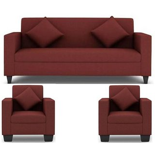 Gioteak Jakarta 5 Seater (3+1+1) Sofa Set in Maroon Upholstery with Cushions